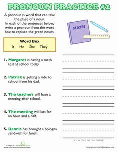 image result for personal pronouns worksheets for grade 1