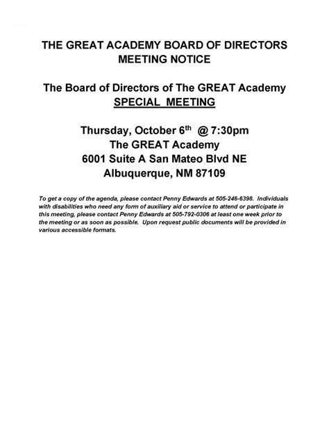 tga board  directors special meeting notice