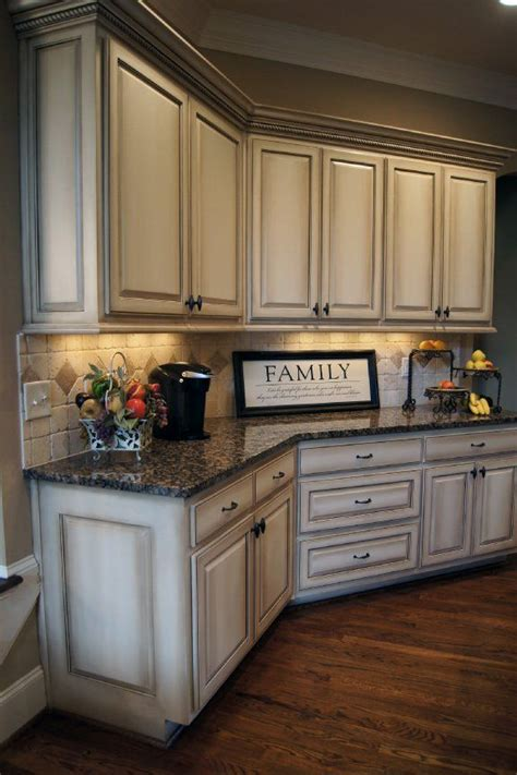 cabinets kitchen painted distressed sunset glaze finish