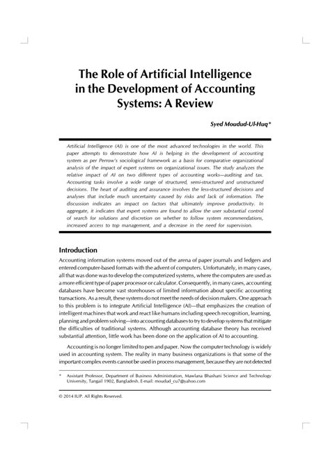 (PDF) The Role of Artificial Intelligence in the