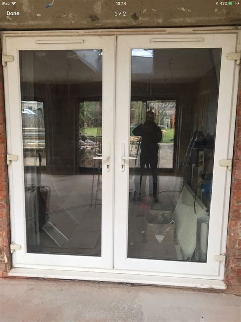 upvc patio french doors white double glazed  vents