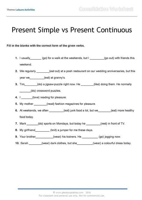 Present Simple Vs Present Continuous Englishlanguage4u