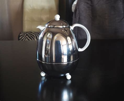 Thermos 51 ounce vacuum insulated stainless steel carafe. Mid Century Studio Nova Chrome Coffee Carafe Insulated Thermos with White Handle | Chrome, Mid ...