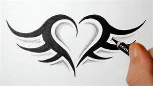 How to Draw a Simple Tribal Heart Tattoo with Wings - YouTube