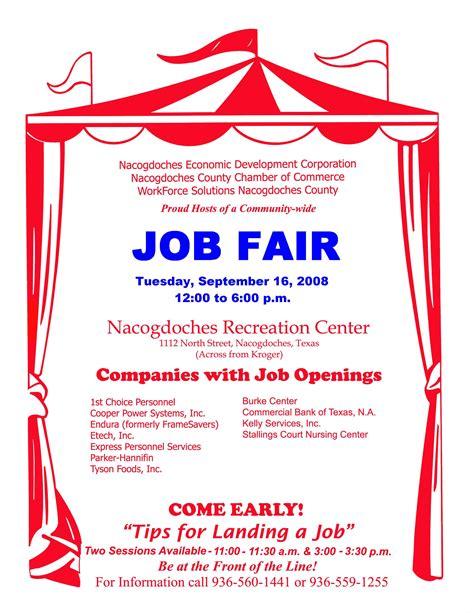 job fair tuesday sept city recreation center nacogdoches