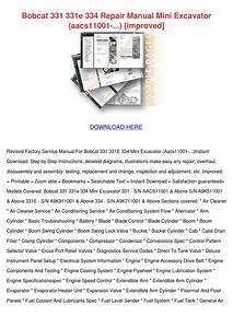 Bobcat 331 331e 334 Repair Manual Mini Excava By