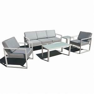 Salon Jardin Aluminium : salon de jardin 5 places aluminium ~ Teatrodelosmanantiales.com Idées de Décoration