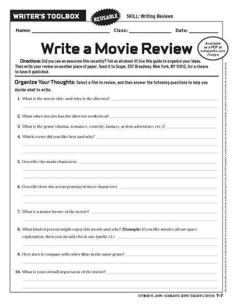 Write A Movie Review Worksheet For 6th  10th Grade  Lesson Planet