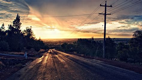 road, Trees, Asphalt, Sunset, Clouds, Photo Manipulation ...