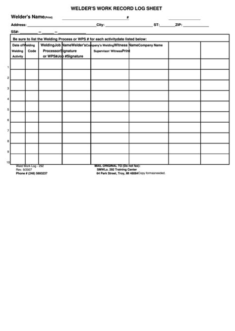 welders work record log sheet printable