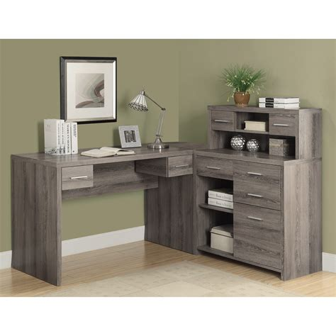 gray desk with drawers grey l shaped desk best home design 2018