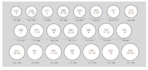 ring size chart world  printables