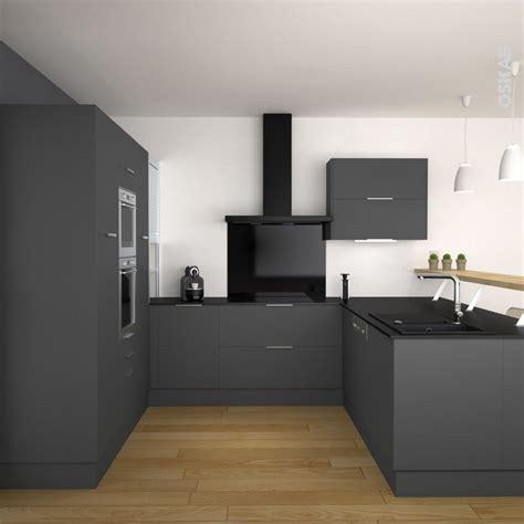 cuisine noir et grise cuisine grise porte effet touch ginko gris mat gris