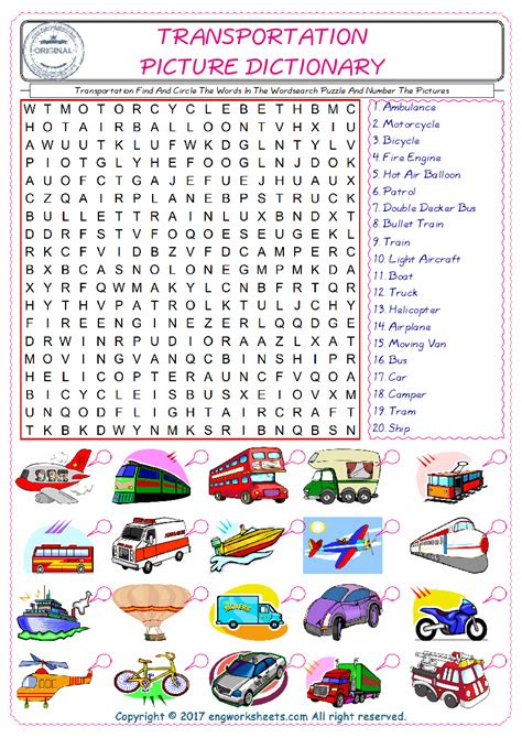 transportation esl printable english vocabulary worksheets