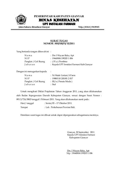 Contoh Surat Tugas Kedinasan by Surat Tugas Prajabatan