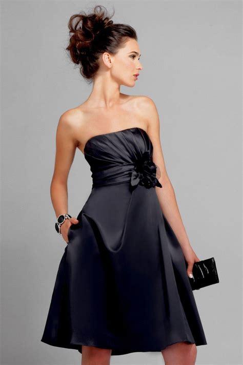 black strapless knee length sash floral chiffon satin bridesmaid dress zoombridalcom prlog
