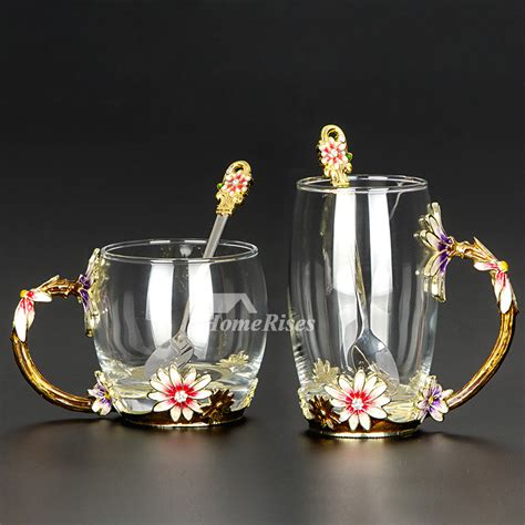 glass coffee cups set enamel carved cafe  mug unique cheap modern