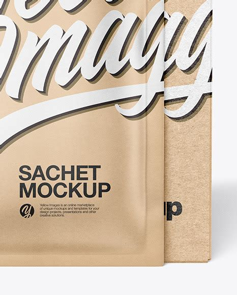 Two mockups showing a closed and open mailing box. Download Kraft Paper Stick Sachet Mockup PSD - You will ...