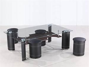 Table Basse 4 Poufs : table basse rectangulaire en verre julia avec 4 poufs 58448 ~ Teatrodelosmanantiales.com Idées de Décoration