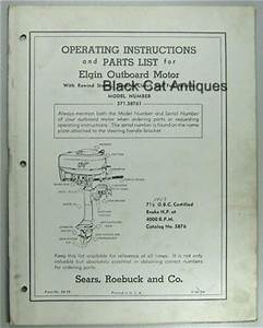 1956 Sears Elgin Outboard Owners Manual  Part List For 7