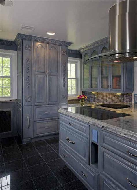 grey cabinets  blue pearl tile floor designed