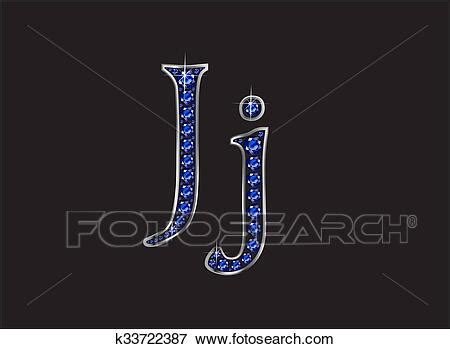 jj sapphire jeweled font  silver channels stock illustration  fotosearch