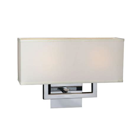 plc lighting 2 light polished chrome sconce with white