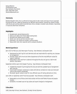 professional dispatch clerk templates to showcase your With dispatcher resume