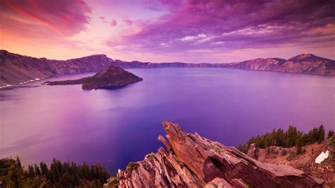 Sunset At Crater Lake National Park Oregon Full Hd