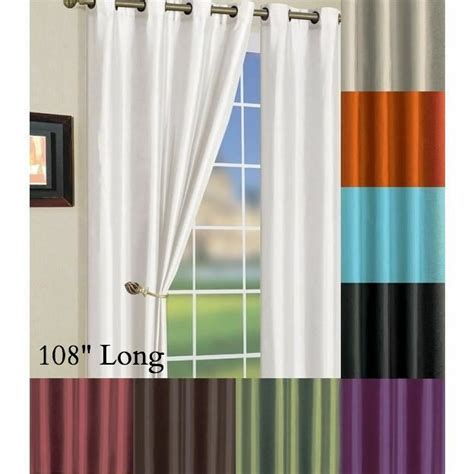 108 inch drapery panels solid faux silk grommet window curtain panel 58 by