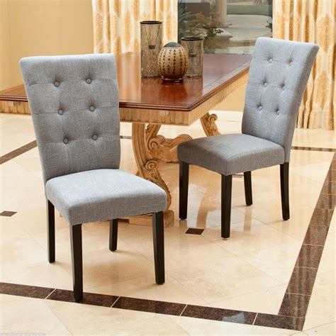 Upholstery For Dining Chairs by Set Of 2 Contemporary Grey Button Tufted Fabric Dining
