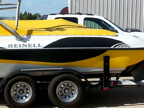 Yellow Boat Wraps by Boat Wrap Precision Sign Design