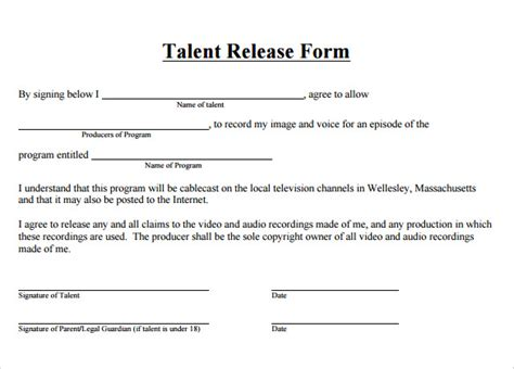 talent release forms samples examples formats
