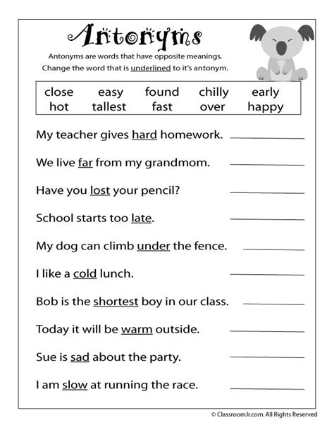 antonym worksheet woo jr kids activities  grade