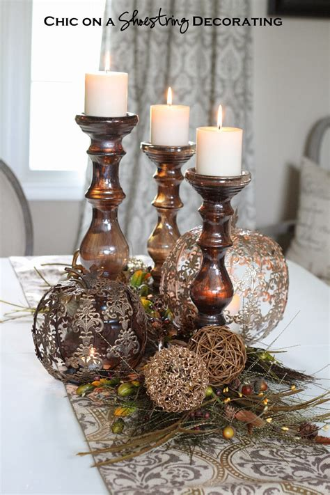 how to decorate an entry table chic on a shoestring decorating fall centerpiece and pier