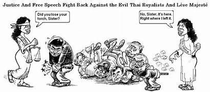 Speech Justice Fight Cartoon Symbols Democracy Scene