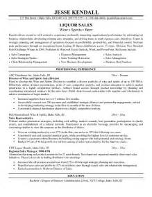 wine sales representative resume exle exle liquor sales resume free sle