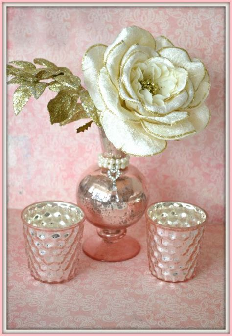 Pink Mercury Glass Bathroom Accessories by Beautiful Vintage Pink Mercury Glass Trio Vase And 4