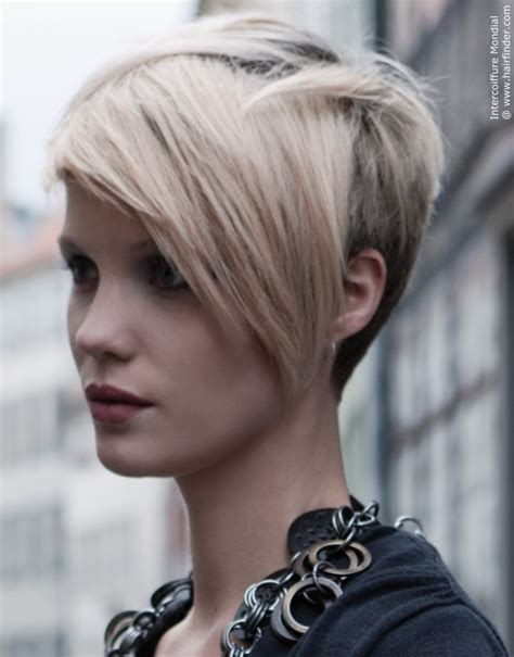 hairstyle short back long front light blonde