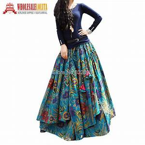 New Fashion Top Sale Long Flowing Thick Cotton Multicolor Print Skirts Bohemia Style Ethnic ...