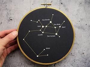Sagittarius constellation in embroidery hoop. Sagittarius