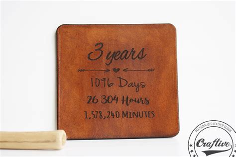 3rd year anniversary gift 3rd anniversary gift leather coasters