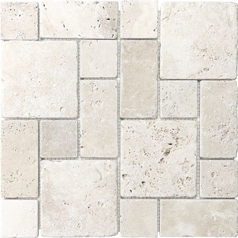 travertine mosaic tile shop anatolia tile chiaro mixed pattern mosaic travertine wall tile common 12 in x 12 in