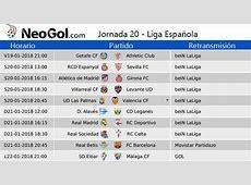 Jornada 20 Liga Española 2018 Partidos y horarios