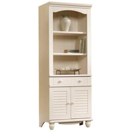 Sauder Bookcase White by Sauder Harbor View Bookcase With Doors Antique White