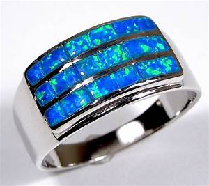 Blue Fire Opal Inlay Genuine 925 Sterling Silver Men's ...
