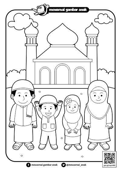 ide 37 sketsa gambar masjid dan orang