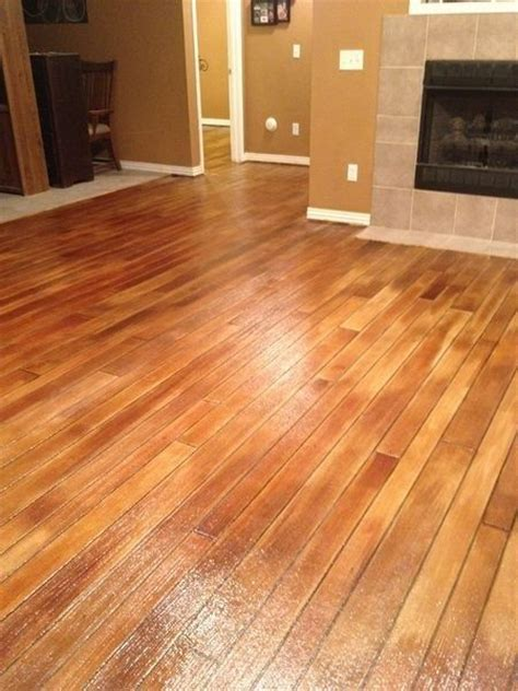 Stained concrete looks like hardwood!   Wood Plank