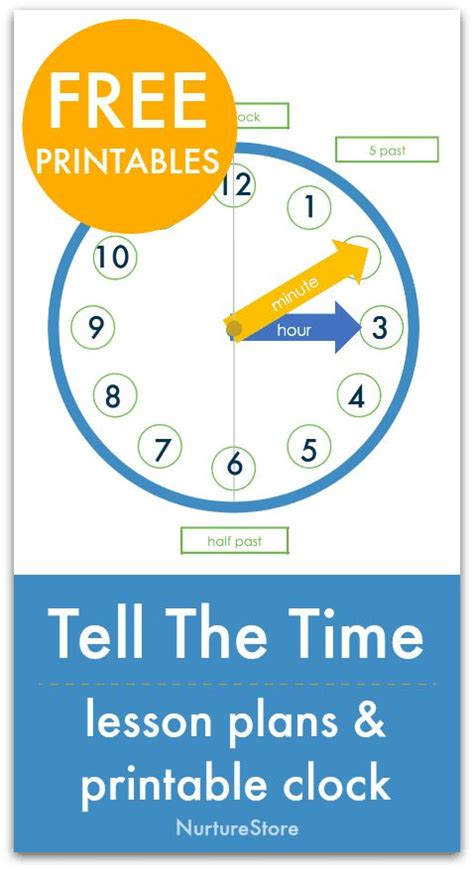 easy telling  time lesson  clock  printable