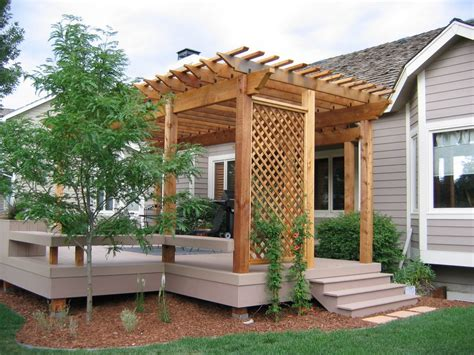 impressive wooden pergola design ideas with yard elves deck also small tree plus outdoor seating